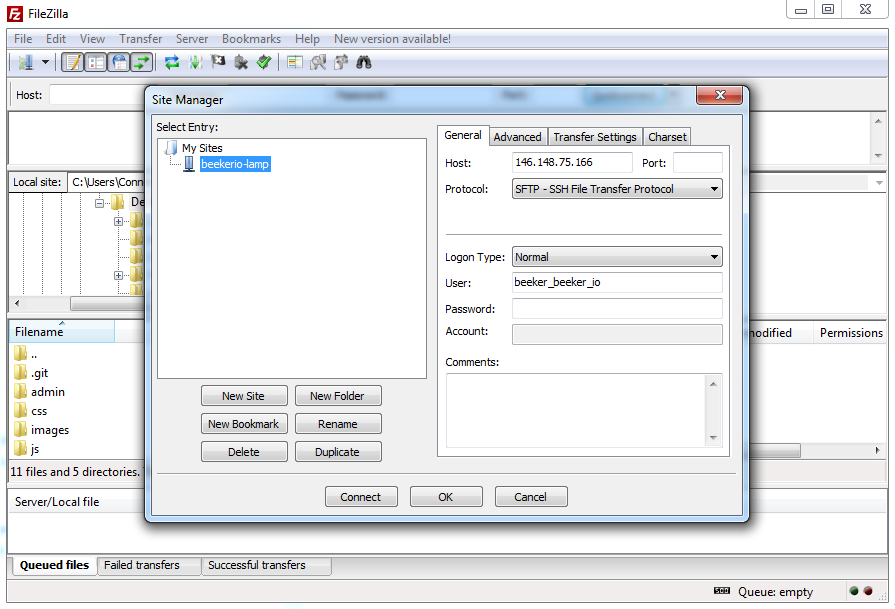 FileZilla connection settings